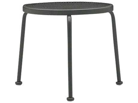 Woodard Mesh Wrought Iron 17 Round End Table Stackable
