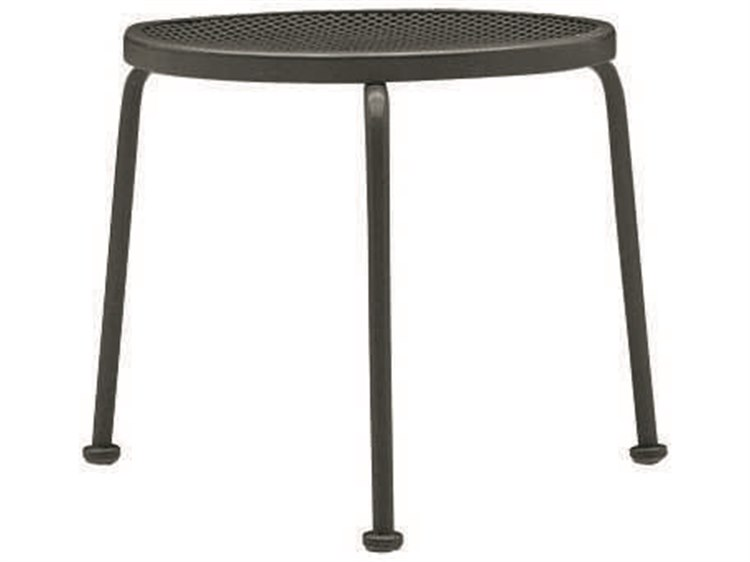 Woodard  Wrought Iron Mesh 17''Wide Round Stackable End Table PatioLiving