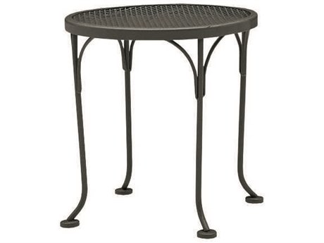 Woodard Wrought Iron Mesh 17''Wide Round End Table