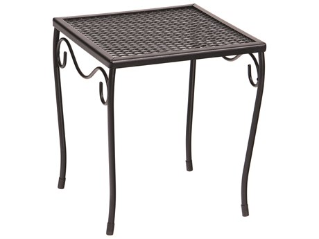 Woodard Wrought Iron Mesh 12''Wide Square Small End Table