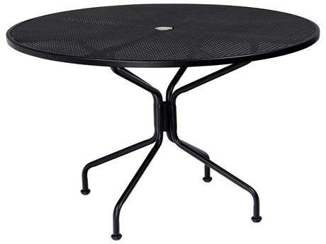 Woodard Wrought Iron 48 Round 8 Spoke Table with Umbrella Hole