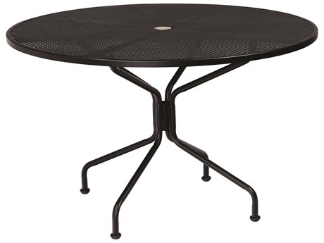 Woodard Wrought Iron Mesh 48''Wide Round 8 Spoke Dining Table with Umbrella Hole