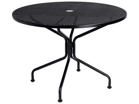 Woodard Wrought Iron 42 Round 4 Spoke Table with Umbrella Hole