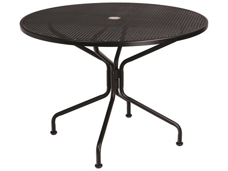 Woodard Wrought Iron Mesh 42''Wide Round 4 Spoke Dining Table with Umbrella Hole