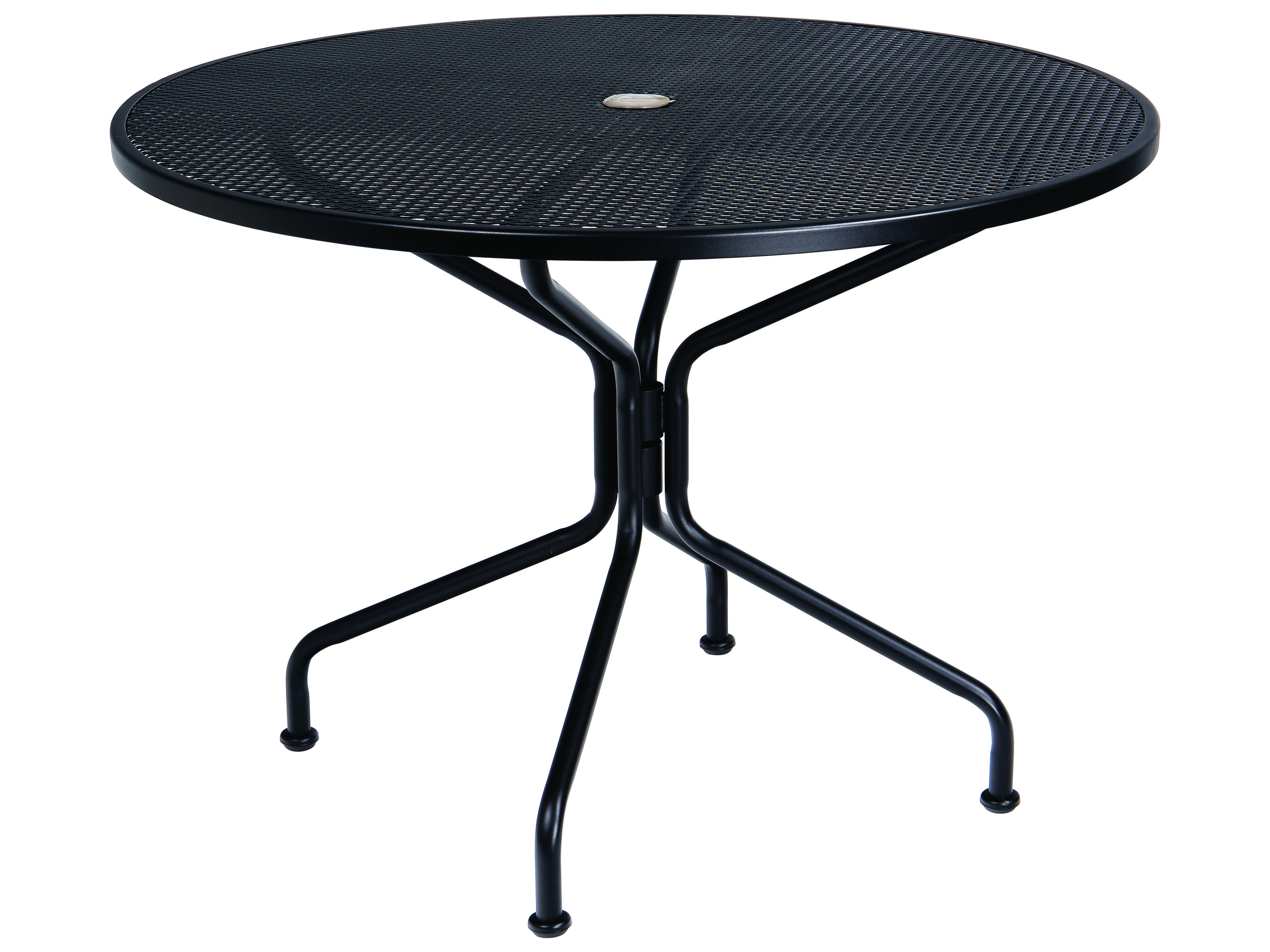 Woodard Wrought Iron Mesh 42 Wide Round 4 Spoke Dining Table With Umbrella Hole Wr190229