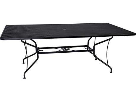 Woodard Wrought Iron 84 x 60 Rectangular Mesh Top Table with Umbrella Hole