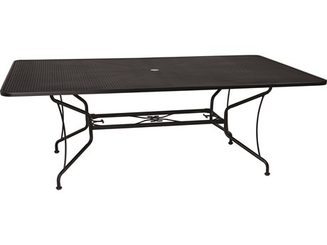 Woodard Wrought Iron Mesh 84''W x 60''D Rectangular Dining Table with Umbrella Hole
