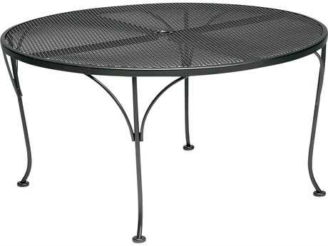 Woodard Mesh Wrought Iron 42 Round Coffe Table with Umbrella Hole