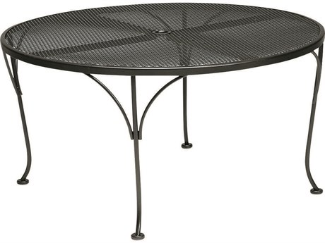 Woodard Wrought Iron Mesh 42''Wide Round Dining/Chat Table with Umbrella Hole