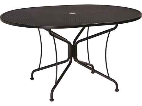 Woodard Wrought Iron Mesh 54''W x 42''D Oval 8 Spoke Dining Table with Umbrella Hole