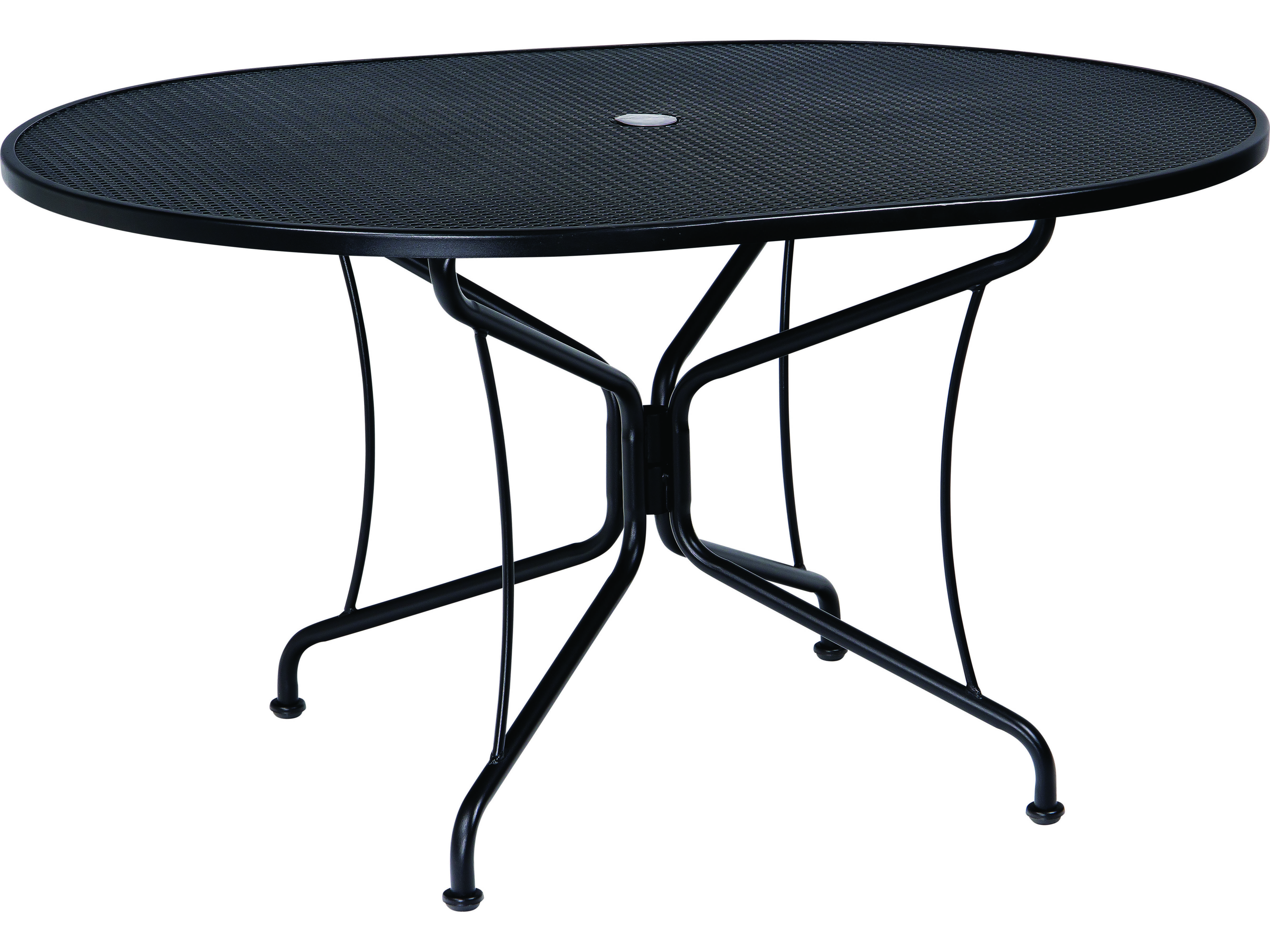 woodard wrought iron 54 x 42 oval 8 spoke table with umbrella hole 190303. Black Bedroom Furniture Sets. Home Design Ideas