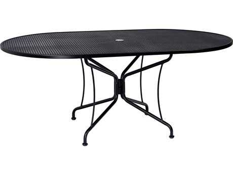Woodard Wrought Iron 72 x 42 Oval 8 Spoke Table with Umbrella Hole