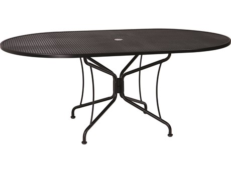 Woodard Wrought Iron Mesh 72''W x 42''D Oval 8 Spoke Dining Table with Umbrella Hole