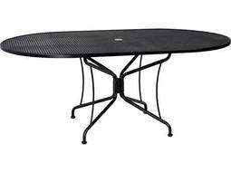 Wrought Iron 72 x 42 Oval 8 Spoke Table with Umbrella Hole