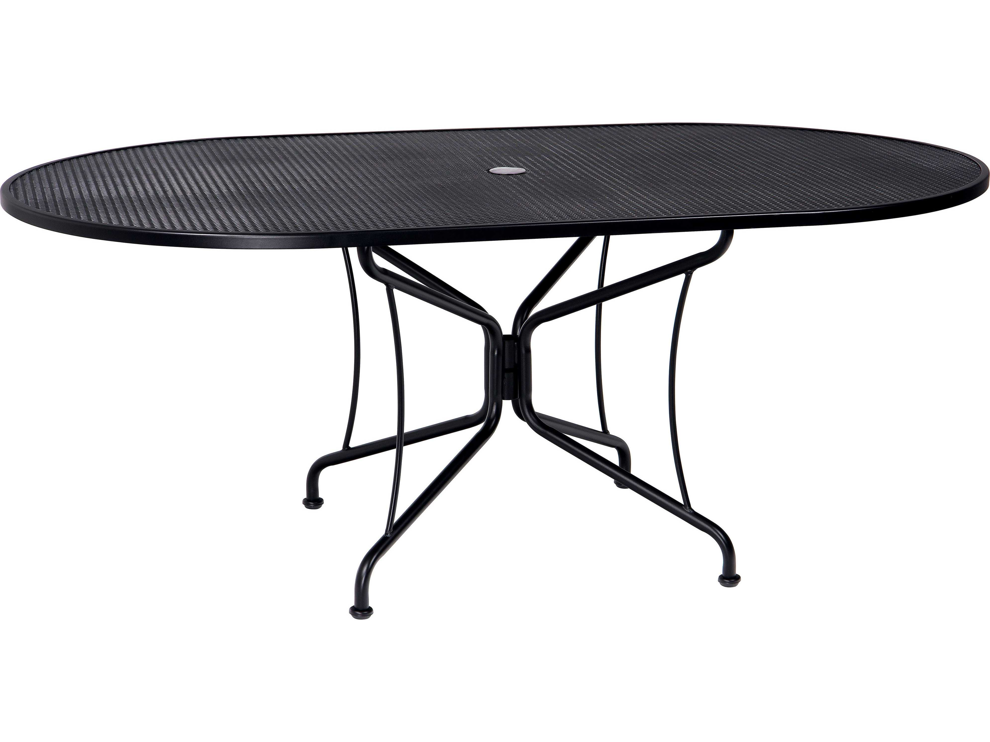 woodard wrought iron 72 x 42 oval 8 spoke table with umbrella hole wr190306. Black Bedroom Furniture Sets. Home Design Ideas