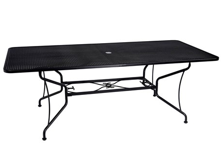 Woodard Wrought Iron Mesh 84''W x 42''D Rectangular 8 Spoke Dining Table with Umbrella Hole