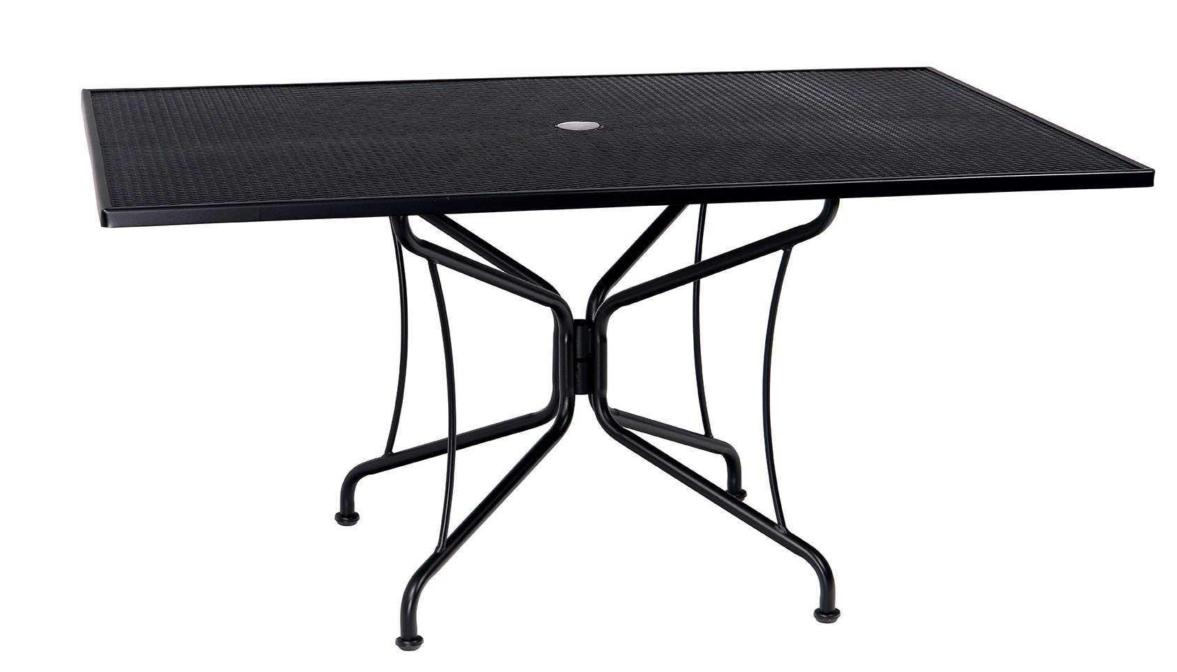 woodard wrought iron 84 x 42 rectangular 8 spoke table with umbrella hole wr190309. Black Bedroom Furniture Sets. Home Design Ideas