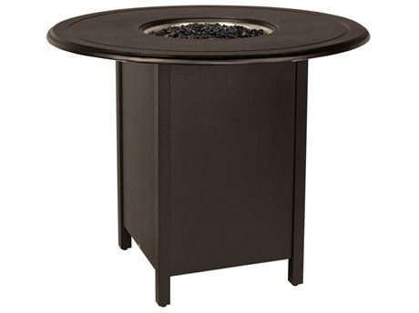 Woodard Aluminum Square Bar Height Fire Table Base with Round Burner