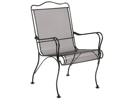 Woodard Tucson Wrought Iron High Back Dining Arm Chair