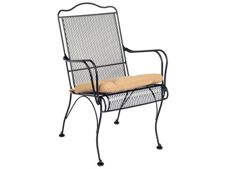 Woodard Tucson Mesh Wrought Iron High Back Dining Arm Chair with Cushion