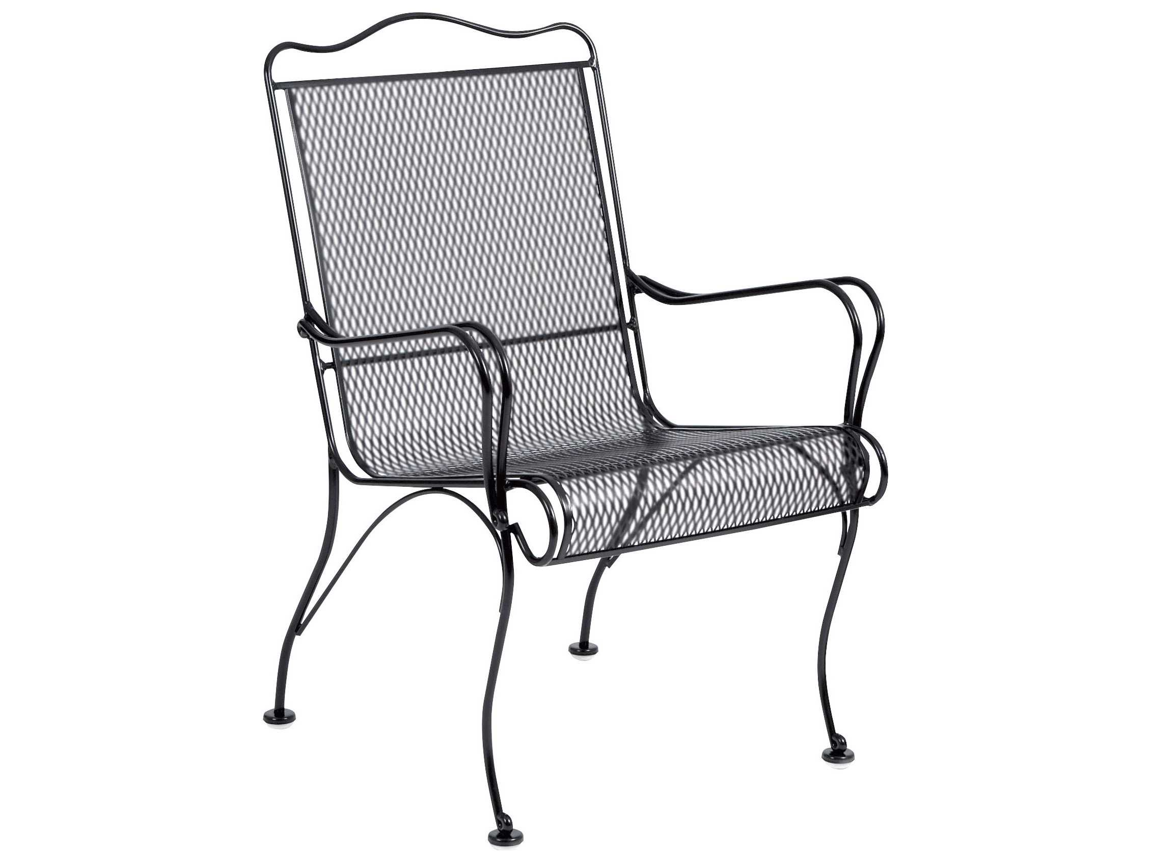 Woodard Tucson Wrought Iron High Back Arm Dining Chair ...
