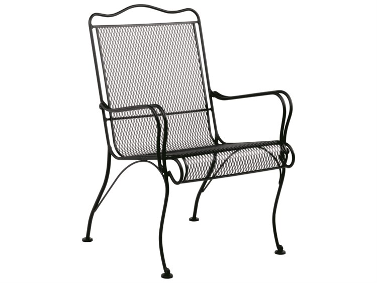 Woodard Tucson Mesh Wrought Iron High Back Lounge Chair with Cushion PatioLiving