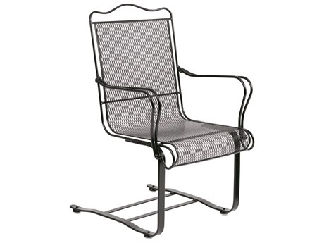 Woodard Tucson Mesh Wrought Iron High Back Spring Base Chair Dining Arm Chair w/ Seat Cushion