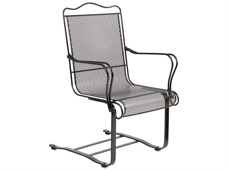Woodard Tucson Mesh Wrought Iron High Back Spring Dining Arm Chair with Cushion PatioLiving