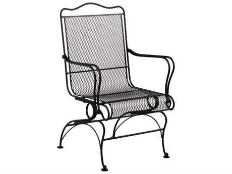 Woodard Tucson Mesh Wrought Iron High Back Coil Spring Dining Arm Chair with Seat Cushion