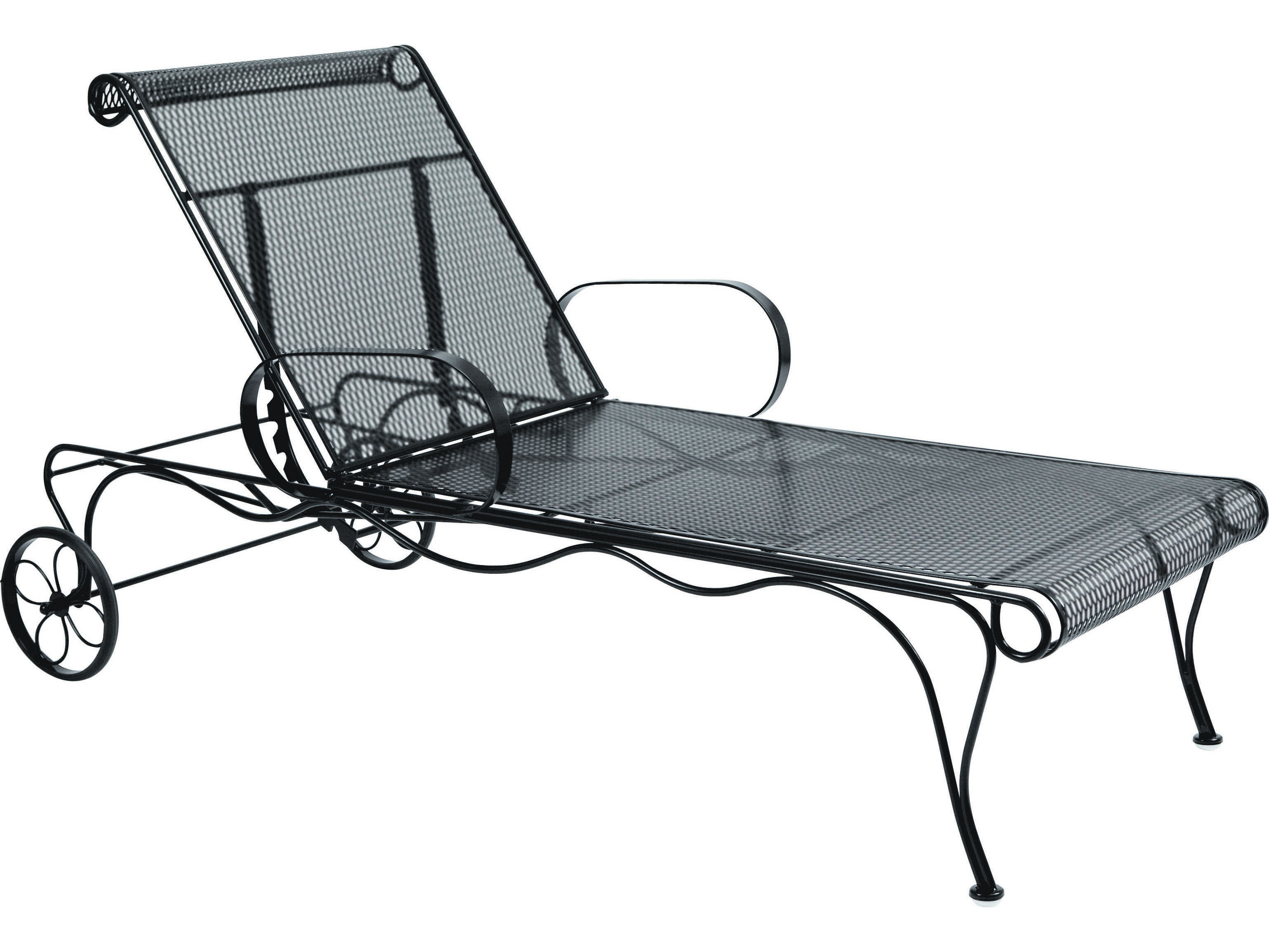 Woodard tucson wrought iron arm adjustable chaise 1g0070 for Black mesh chaise lounge