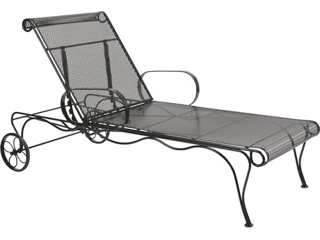 Woodard Tucson Mesh Wrought Iron Adjustable Chaise Lounge w/ Seat & Back Cushion