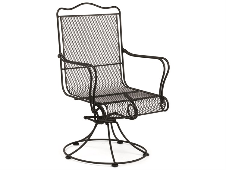 Woodard Tucson Mesh Wrought Iron High Back Swivel Rocker Dining Arm Chair with Cushion PatioLiving