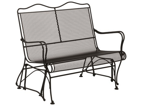 Woodard Tucson Mesh Wrought Iron High Back Love Seat Glider w/ Seat Cushion