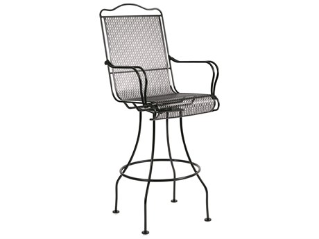 Woodard Tucson Mesh Wrought Iron Swivel Bar Stool w/ Seat Cushion