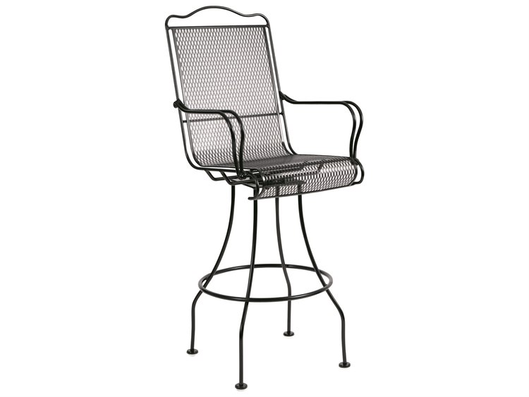 Woodard Tucson Mesh Wrought Iron Swivel Bar Stool with Cushion PatioLiving
