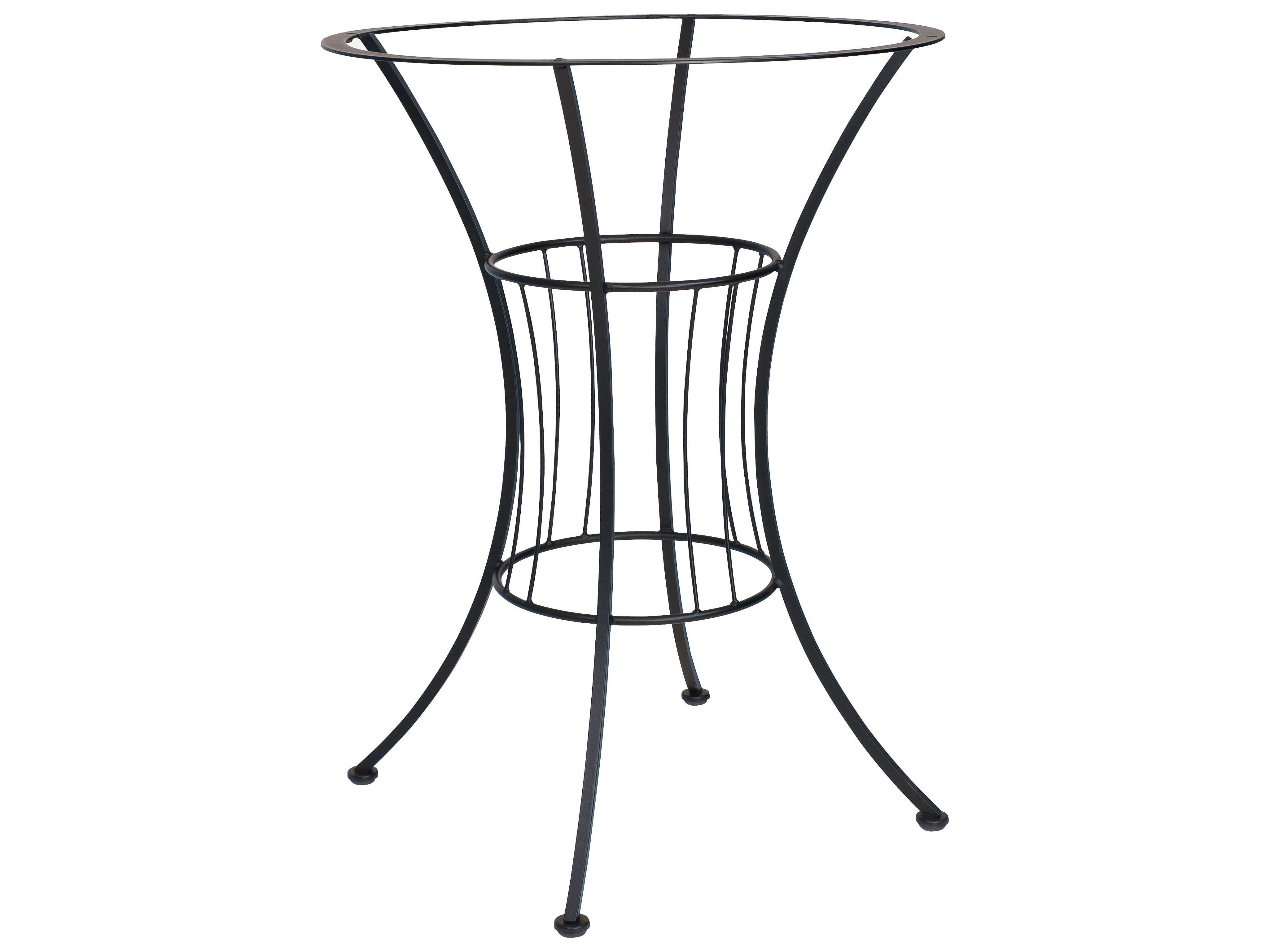 Woodard easton wrought iron 30 5 bar height table base for Outdoor table bases wrought iron