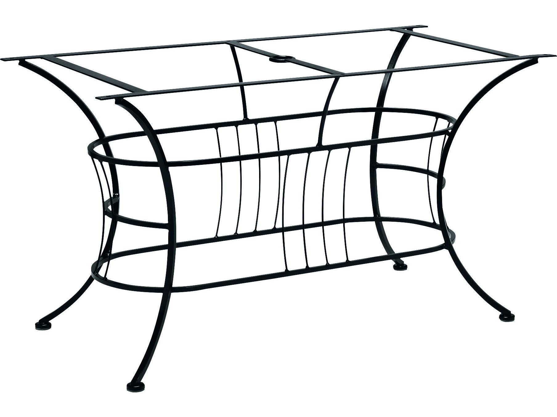 Woodard easton wrought iron large dining table base only for Outdoor table bases wrought iron