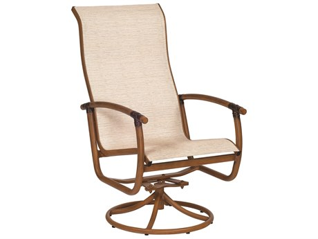 Woodard Glade Isle Sling Aluminum High Back Swivel Rocker Dining Arm Chair