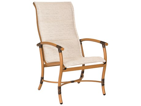 Woodard Glade Isle Padded Sling Aluminum High Back Dining Chair