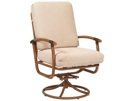 Woodard Glade Isle Cushion Aluminum Swivel Rocker Dining Arm Chair