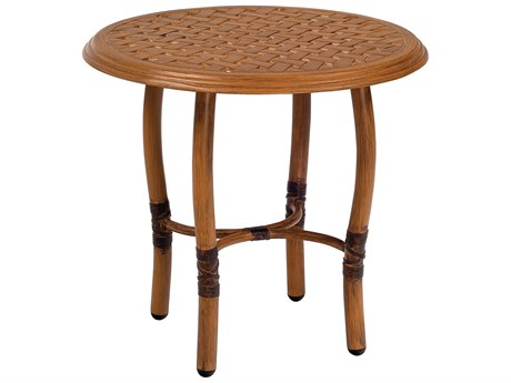Woodard Glade Isle Aluminum 22 Round Thatch Top End Table