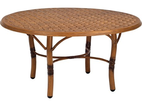 Woodard Glade Isle Aluminum 36 Round Thatch Top Coffee Table