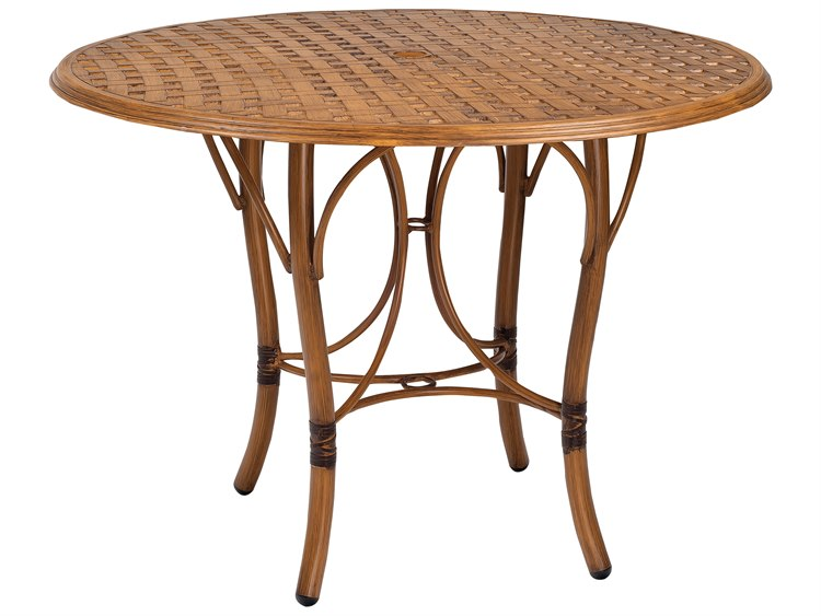 Woodard Glade Isle Aluminum 42 Round Thatch Top Counter Table with Umbrella Hole
