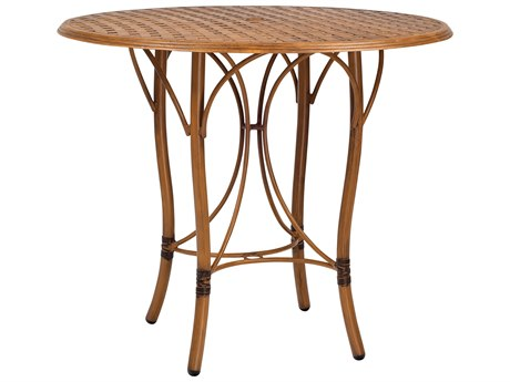 Woodard Glade Isle Aluminum 42 Round Thatch Top Bar Table with Umbrella Hole