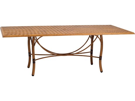 Woodard Glade Isle Aluminum 84 x 42 Rectangular Thatch Top Dining Table with Umbrella Hole