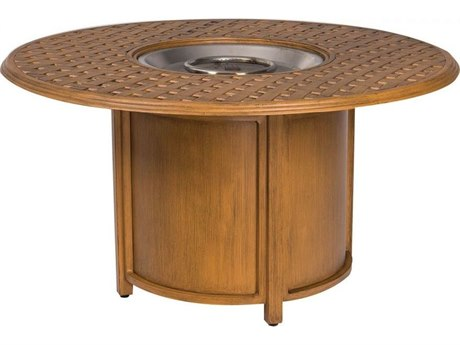 Woodard Glade Isle Aluminum 48''Wide Round Thach Top Fire Pit Table with Burner