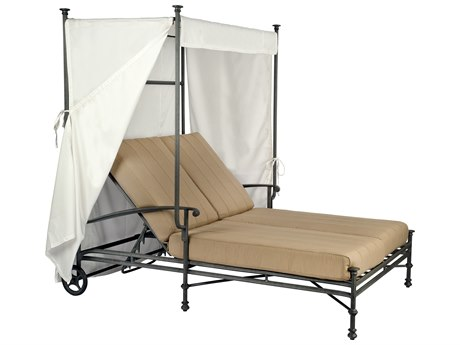 Woodard Nova Cast Aluminum Double Chaise with Canopy