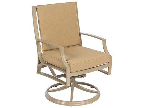 Woodard Seal Cove Aluminum Swivel Dining Chair with Optional Back Cushion