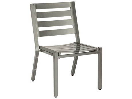 Woodard Palm Coast Slat Aluminum Dining Side Chair Stackable