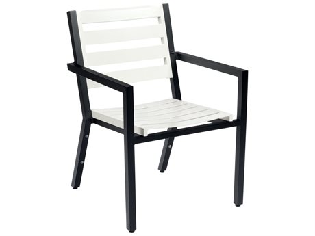 Woodard Palm Coast Slat Aluminum Dining Arm Chair with Cushion